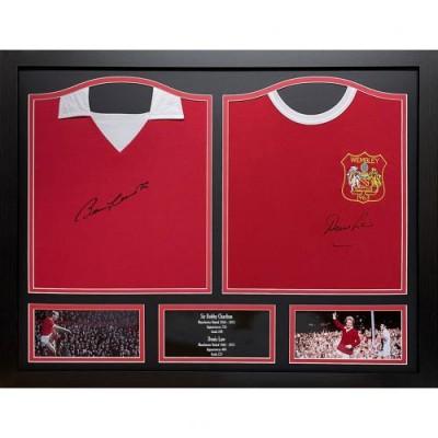 Манчестер Юнайтед Футболки Charlton и Law с автографами (багет)
