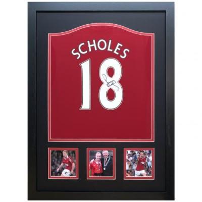 Манчестер Юнайтед Футболка Scholes с автографом (багет)