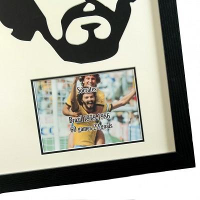 Бразилия Футболка Socrates с автографом и 3D силуэтом (багет)