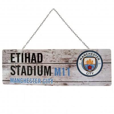 Манчестер Сити Металлическая табличка в деревенском стиле